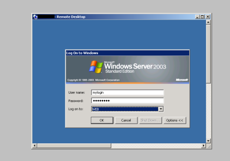 Using Remote Desktop to get a screen-shot of the login prompt.