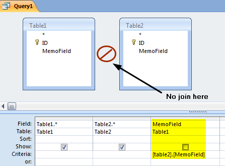 How to join on memo fields in Microsoft Access | Improving